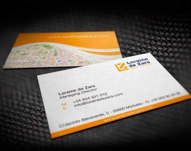 Business card design Loraine de Zara
